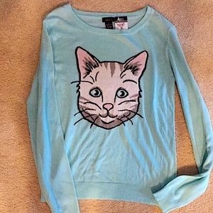 NWT Rue21 light blue sweater with cute cat